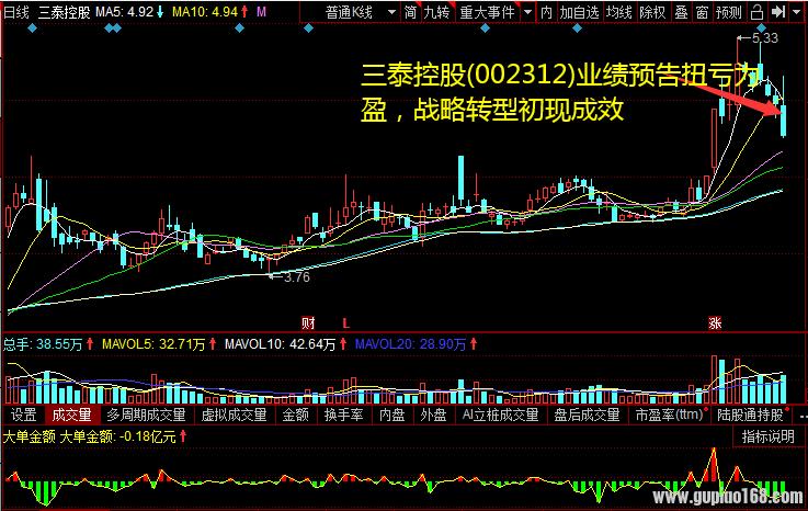 三泰控股(002312)业绩预告扭亏为盈,战略转型初现成效